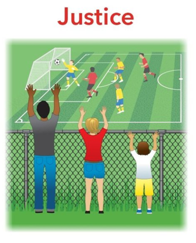 Image depicting a man, woman and child watching a soccer match over and through an open wire fence.